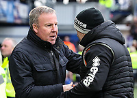 Portsmouth's manager Kenny Jackett greets Blackpool's assistant manager Gary Brabin<br />