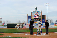 Lexington Legends national anthem before game against the Greenville Drive on April 18, 2013 at Whitaker Bank Ballpark in Lexington, Kentucky.  Lexington defeated Greenville 12-3.  (Mike Janes/Four Seam Images)