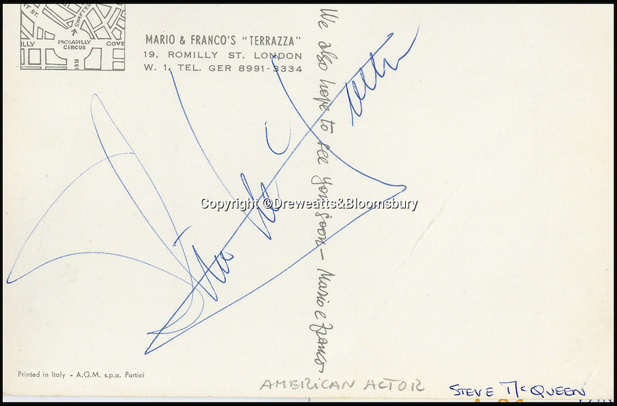 """BNPs.co.uk (01202 558833)<br /> Pic: Dreweatts&Bloomsbury/BNPS<br /> <br /> """"The King Of Cool"""", Steve McQueen.<br /> <br /> An Italian waiter's stunning collection of autographs of diners that reads like a Who's Who of celebrities from the Swinging Sixties has emerged for sale. <br /> <br /> The late waiter, named only as 'Dino', worked at the famous La Terrazza restaurant in London's Soho which became a haunt of the great and the good from the showbusiness world.<br /> <br /> His daughter is now set for a £4,000 tip when the impressive collection sells at auction."""