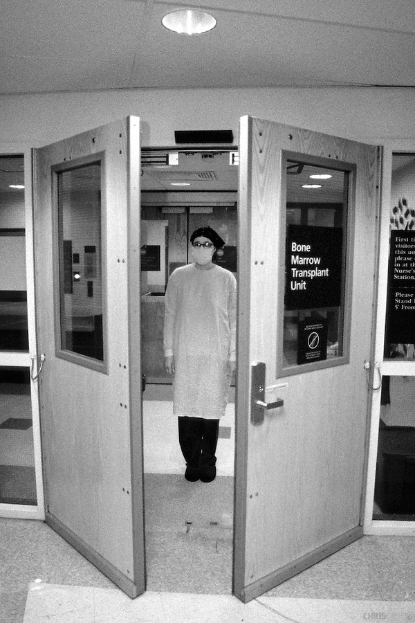 Entry to and exit from the Bone Marrow Transplant Unit at Thomas Jefferson Hospital & FunnyBlood_Doors_BW.tif | Chris Case Photography Pezcame.Com