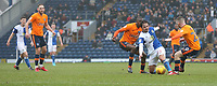 Blackburn Rovers' Bradley Dack is tackled by Oldham Athletic's Jack Byrne<br /> <br /> Photographer Stephen White/CameraSport<br /> <br /> The EFL Sky Bet League One - Blackburn Rovers v Oldham Athletic - Saturday 10th February 2018 - Ewood Park - Blackburn<br /> <br /> World Copyright &copy; 2018 CameraSport. All rights reserved. 43 Linden Ave. Countesthorpe. Leicester. England. LE8 5PG - Tel: +44 (0) 116 277 4147 - admin@camerasport.com - www.camerasport.com