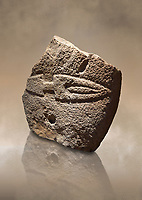 Fragmant of a Late European Neolithic prehistoric Menhir standing stone with carving of a knife on its face side.  Excavated from Palas de Nuraxi II, Laconi. Menhir Museum, Museo della Statuaria Prehistorica in Sardegna, Museum of Prehoistoric Sardinian Statues, Palazzo Aymerich, Laconi, Sardinia, Italy