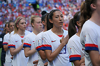DECINES-CHARPIEU, FRANCE - JULY 07: Christen Press #23 and USA bench during the 2019 FIFA Women's World Cup France Final match between Netherlands and the United States at Groupama Stadium on July 07, 2019 in Decines-Charpieu, France.