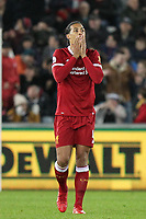 Virgil van Dijk of Liverpool covers his face during the Premier League match between Swansea City and Liverpool at the Liberty Stadium, Swansea, Wales on 22 January 2018. Photo by Mark Hawkins / PRiME Media Images.