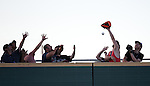Fans in left field try to come up with a home run ball during the Triple-A All Star Home Run Derby in Reno, Nev., on Monday, July 15, 2013. <br /> Photo by Cathleen Allison