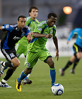Sanna Nyassi of Sounders in action during the game against the Earthquakes at Buck Shaw Stadium in Santa Clara, California on July 31st, 2010.   Seattle Sounders defeated San Jose Earthquakes, 1-0.