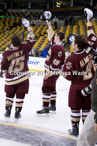 Joe Whitney (BC - 15), Chris Kreider (BC - 19), Barry Almeida (BC - 9) - The Boston College Eagles defeated the Boston University Terriers 4-3 on Monday, February 8, 2010, at the TD Garden in Boston, Massachusetts, to take the 2010 Beanpot.