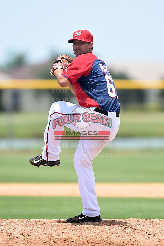 GCL Nationals pitcher Tyler Mapes (61) delivers a pitch during a game against the GCL Marlins on June 28, 2014 at the Carl Barger Training Complex in Viera, Florida.  GCL Nationals defeated the GCL Marlins 5-0.  (Mike Janes/Four Seam Images)