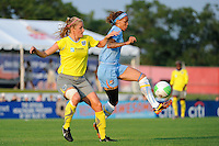 Natasha Kai (6) of Sky Blue FC plays the ball in front of Allison Falk (3) of the Philadelphia Independence. The Philadelphia Independence defeated Sky Blue FC 4-1 during a Women's Professional Soccer (WPS) match at Yurcak Field in Piscataway, NJ, on June 19, 2010.