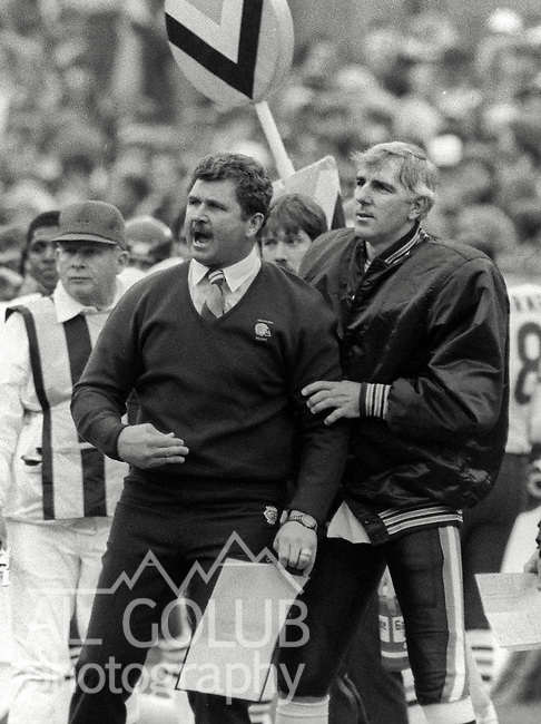 San Francisco 49ers vs. Chicago Bears at Candlestick Park Sunday, January 6, 1985..49ers beat Bears 23-0 Conference Championship.Bears Head Coach Mike Ditka on the sidelines...