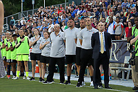 Cary, NC - Saturday April 22, 2017: Paul Riley, Scott Vallow, Sean Nahas, Nathan Thackeray, Bill Palladino prior to a regular season National Women's Soccer League (NWSL) match between the North Carolina Courage and the Portland Thorns FC at Sahlen's Stadium at WakeMed Soccer Park.