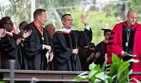 Conferring of Honorary Degree and Response - Eric Garcetti, Mayor of the city of Los Angeles.<br /> Families, friends, faculty, staff and distinguished guests celebrate the class of 2019 during Occidental College's 137th Commencement ceremony on Sunday, May 19, 2019 in the Remsen Bird Hillside Theater.<br /> (Photo by Marc Campos, Occidental College Photographer)