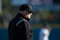 Third base umpire Andrew Glenn works the NCAA baseball game between the Illinois Fighting Illini and the Coastal Carolina Chanticleers at Springs Brooks Stadium on February 22, 2020 in Conway, South Carolina. The Fighting Illini defeated the Chanticleers 5-2. (Brian Westerholt/Four Seam Images)
