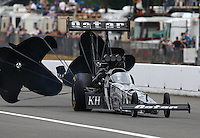 Aug. 3, 2013; Kent, WA, USA: NHRA top fuel dragster driver Shawn Langdon during qualifying for the Northwest Nationals at Pacific Raceways. Mandatory Credit: Mark J. Rebilas-USA TODAY Sports
