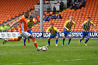 Blackpool's Kyle Vassell takes a penalty kick<br /> <br /> Photographer Terry Donnelly/CameraSport<br /> <br /> The EFL Sky Bet League Two - Blackpool v Accrington Stanley - Friday 14th April 2017 - Bloomfield Road - Blackpool<br /> <br /> World Copyright &copy; 2017 CameraSport. All rights reserved. 43 Linden Ave. Countesthorpe. Leicester. England. LE8 5PG - Tel: +44 (0) 116 277 4147 - admin@camerasport.com - www.camerasport.com