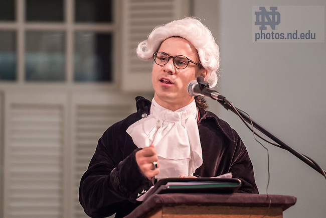 Nov. 19, 2015; Notre Dame Law School student Nico Howard presents for the defense during the Notre Dame Law School and Boston College Law School commemoration of the closing arguments from the trial of a British captain involved in the 1770 Boston Massacre, held in the Old South Meeting House in Boston. (Photo by Matt Cashore/University of Notre Dame)