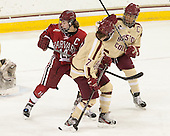 Jillian Dempsey (Harvard - 14), Dru Burns (BC - 7), Blake Bolden (BC - 10) - The Boston College Eagles defeated the visiting Harvard University Crimson 3-1 in their NCAA quarterfinal matchup on Saturday, March 16, 2013, at Kelley Rink in Conte Forum in Chestnut Hill, Massachusetts.