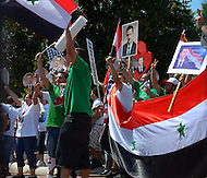 July 30, 2011 (Washington, DC)  As human rights protests in Syria increase, Syrians in the United States continue to rally in solidarity.  A group of Syrians gathered outside the White House as President Obama met with Congressional leaders on the looming financial default crisis. (Photo: Don Baxter/Media Images International)