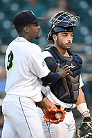 Starting pitcher Tony Dibrell (8) celebrates with catcher Scott Manea (25) after he tied a Fireflies single-season strikeout record on Tuesday, August 28, 2018, at Spirit Communications Park in Columbia, South Carolina. Dibrell went on to break the record at 138. (Tom Priddy/Four Seam Images)