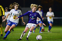 20180126 - OOSTAKKER , BELGIUM : Anderlecht's Charlotte Tison (right) pictured on the ball in front of Gent's Marie Minnaert (left) during the quarter final of Belgian cup 2018 , a womensoccer game between KAA Gent Ladies and RSC Anderlecht , at the PGB stadion in Oostakker , friday 27 th January 2018 . PHOTO SPORTPIX.BE | DAVID CATRY