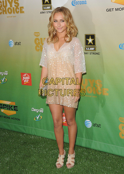 HAYDEN PANETTIERE.at The 2009 Spike TV Guy's Choice Awards held at Sony Picture Studios in Culver City, California, May 30th 2009.                                                                     .full length white beige sparkly sequined dress clutch bag sandals zips zip up shoes v-neck.CAP/DVS.©Debbie VanStory/RockinExposures/Capital Pictures