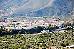 The town of Orgiva in its valley, Alpujarras, Sierra Nevada, Spain