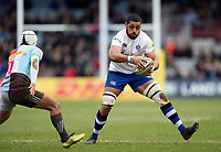 Taulupe Faletau of Bath Rugby in possession. Aviva Premiership match, between Harlequins and Bath Rugby on March 2, 2018 at the Twickenham Stoop in London, England. Photo by: Patrick Khachfe / Onside Images