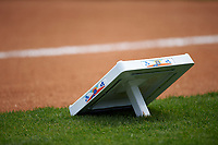 A base sits on the grass before a New York Yankees Spring Training game against the Detroit Tigers on March 2, 2016 at George M. Steinbrenner Field in Tampa, Florida.  New York defeated Detroit 10-9.  (Mike Janes/Four Seam Images)