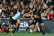 June 3rd 2017, FMG Stadium, Waikato, Hamilton, New Zealand; Super Rugby; Chiefs versus Waratahs;  Chiefs winger James Lowe looks to break the tackle of Waratahs halfback Jake Gordon during the Super Rugby rugby match