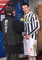 Chick Young interviews Steven Thompson post match in the St Mirren v Celtic Scottish Communities League Cup Semi Final match played at Hampden Park, Glasgow on 27.1.13.