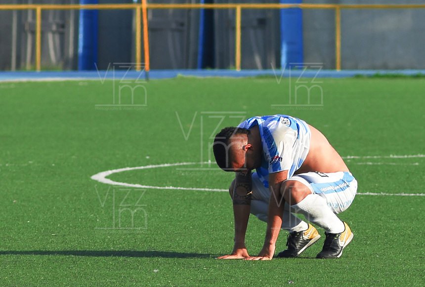 SAN ANDRES - COLOMBIA, 24-03-2019: Nestor Arenas del Real durante partido por la fecha 9 del Torneo Águila 2019 entre Real San Andrés y Fortaleza FC jugado en el estadio Erwin O'Neil de SanAndrés Isla. / Nestor Arenas during match for the date 9 of the Aguila Tourmament 2019 Real San Andres and Fortaleza FC played at Erwin O'Neil stadium in San Andres Islands. Photo: VizzorImage/ James Hunter / Cont
