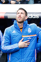 22.02.201a SPAIN -  La Liga 13/14 Matchday 25th  match played between Real Madrid CF vs Elche at Santiago Bernabeu stadium. The picture show A minute of silence was held for the recent death of grandfather Sergio Ramos (Spanish defender of Real Madrid)