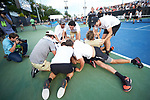 The Wake Forest Demon Deacons celebrate their win over the Ohio State Buckeyes in the 2018 NCAA Men's Tennis Championship at the Wake Forest Tennis Center on May 22, 2018 in Winston-Salem, North Carolina.  The Demon Deacons defeated the Buckeyes 4-2. (Brian Westerholt/Sports On Film)