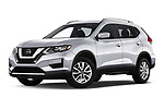 Stock pictures of low aggressive front three quarter view of a 2019 Nissan Rogue SV 5 Door SUV