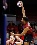 KENOSHA, WI - APRIL 28:  Stevens Institute's Thomas Burrell spikes at the Springfield College defense at the Division III Men's Volleyball Championship held at the Tarble Athletic and Recreation Center on April 28, 2018 in Kenosha, Wisconsin. (Photo by Steve Woltmann/NCAA Photos via Getty Images)