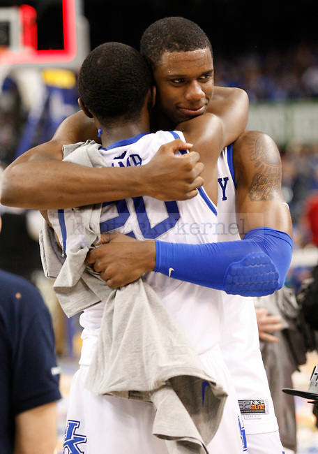 Sophomore teammates Terrence Jones and Doron Lamb hug after the championship game of the NCAA Tournament between the University of Kentucky and Kansas University, in the Superdome, on Monday, April 2, 2012 in New Orleans, La. Kentucky won 67-59 Photo by Latara Appleby | Staff