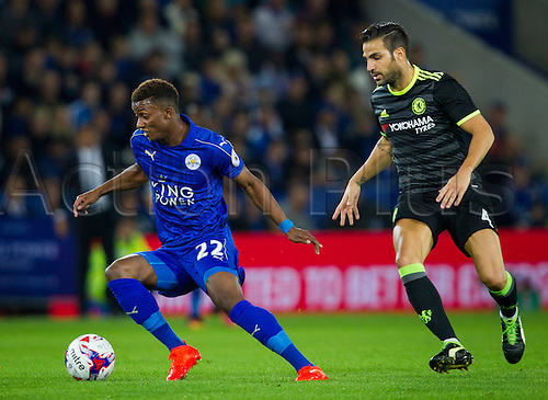 20.09.2016. King Power Stadium, Leicester, England. Football League Cup Football. Leicester City versus Chelsea. Demarai Gray of Leicester City wrong-foots Cesc Fabregas of Chelsea.