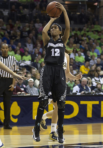 January 26, 2013:  Providence guard Symone Roberts (12) goes up for a shot during NCAA Basketball game action between the Notre Dame Fighting Irish and the Providence Friars at Purcell Pavilion at the Joyce Center in South Bend, Indiana.  Notre Dame defeated Providence 89-44.