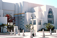 Charles Moore: Oceanside City Hall. Looking back towards City Council Chambers (right), from Ditmar, the cross street through the complex. (Photo '91)