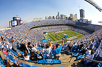 Fans cheer as the Panthers are introduced during a NFL football game at Bank of America Stadium in Charlotte, NC.