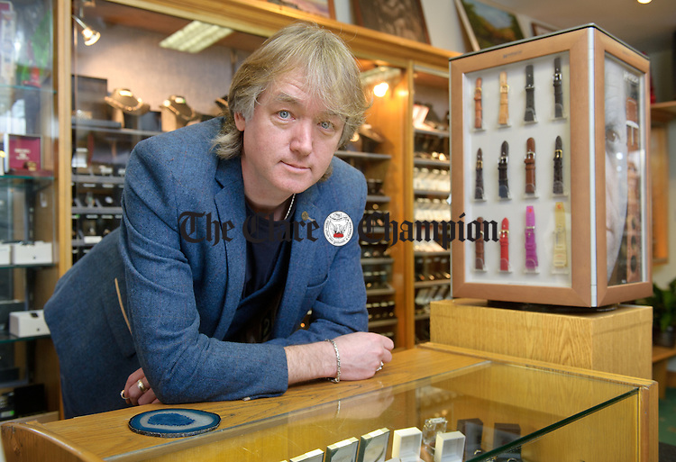 Cathal Shanahan in his shop on On Connell street, Ennis. Photograph by John Kelly.