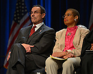 January 2, 2013  (Washington, DC)  D.C. Mayor Vincent Gray (l) and Del. Eleanor Holmes Norton during a swearing-in ceremony for D.C. Council members at the Washington Convention Center January 2, 2013.  (Photo by Don Baxter/Media Images International)