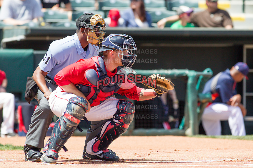 Oklahoma City RedHawks catcher Max Stassi (10) during the Pacific League game at the Chickasaw Bricktown Ballpark against the New Orleans Zephyrs on April 13, 2014 in Oklahoma City, Oklahoma.  The RedHawks defeated the Zephyrs 4-3.  (William Purnell/Four Seam Images)