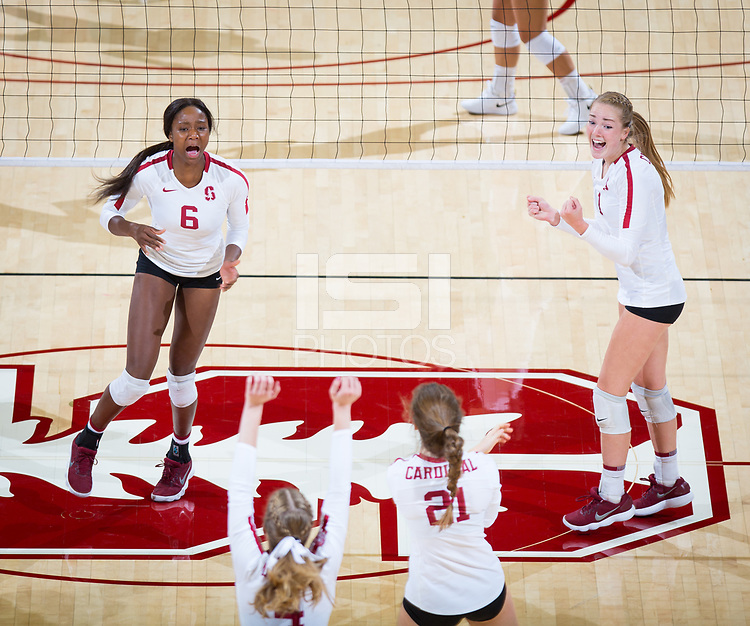 STANFORD, CA - October 12, 2018: Tami Alade, Jenna Gray, Meghan McClure, Sidney Wilson at Maples Pavilion. No. 2 Stanford Cardinal swept No. 21 Washington State Cougars, 25-15, 30-28, 25-12.