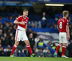 Middlesbrough's Ben Gibson looks on dejected after Chelsea's third goal during the Premier League match at Stamford Bridge Stadium, London. Picture date: May 8th, 2017. Pic credit should read: David Klein/Sportimage