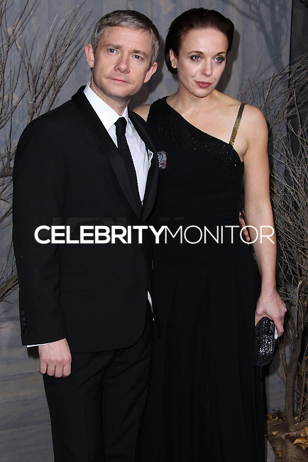 """HOLLYWOOD, CA - DECEMBER 02: Martin Freeman, Amanda Abbington arriving at the Los Angeles Premiere Of Warner Bros' """"The Hobbit: The Desolation Of Smaug"""" held at Dolby Theatre on December 2, 2013 in Hollywood, California. (Photo by Xavier Collin/Celebrity Monitor)"""