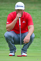 Jon Rahm (ESP) lines up his putt on 1 during round 4 of the Dean &amp; Deluca Invitational, at The Colonial, Ft. Worth, Texas, USA. 5/28/2017.<br /> Picture: Golffile | Ken Murray<br /> <br /> <br /> All photo usage must carry mandatory copyright credit (&copy; Golffile | Ken Murray)