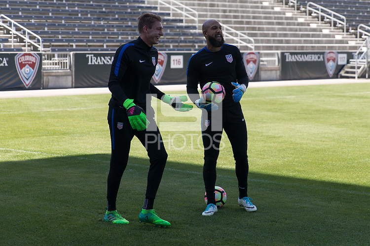 Denver, CO - Thursday June 1, 2017: The U.S. Men's National team train in preparation for their upcoming WCQ Hex games at Dick's Sporting Goods Park.