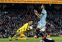 Burnley's Nick Pope gathers under pressure from Manchester City's Ilkay Gundogan<br /> <br /> Photographer Rich Linley/CameraSport<br /> <br /> Emirates FA Cup Fourth Round - Manchester City v Burnley - Saturday 26th January 2019 - The Etihad - Manchester<br />  <br /> World Copyright © 2019 CameraSport. All rights reserved. 43 Linden Ave. Countesthorpe. Leicester. England. LE8 5PG - Tel: +44 (0) 116 277 4147 - admin@camerasport.com - www.camerasport.com