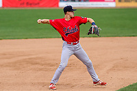 Peoria Chiefs third baseman Andy Young (15) throws to first base during a Midwest League game against the Beloit Snappers on April 15, 2017 at Pohlman Field in Beloit, Wisconsin.  Beloit defeated Peoria 12-0. (Brad Krause/Four Seam Images)